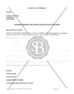 Acknowledgement of Notification of Lease Transfer