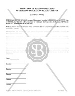 Resolution of Board of Directors Authorizing Purchase of Real Estate