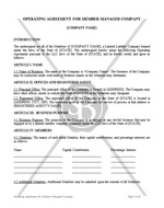 Operating Agreement for Member-Managed Company