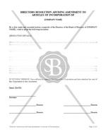 Directors Resolution Advising Amendment to Articles of Incorporation