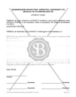 Resolution of Shareholders Approving Amendment to Articles of Incorporation