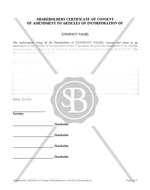 Shareholders Certificate of Consent of Amendment to Articles of Incorporation