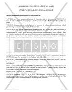 Board Resolution Approving Declaration of Final Dividend