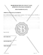 Board Resolution Approving Financial Statements
