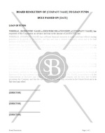 Board Resolution Approving Loan of Funds