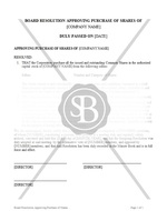 Board Resolution Approving Purchase of Shares