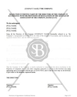 Resolution for Appointment of Additional Directors