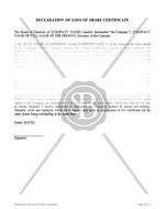Declaration of Loss of Share Certificate