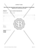 Minutes of the Meeting for Purchase of Property