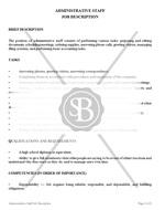 Administrative Staff Job Description