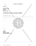 Unpaid Balance Due to Clerical Errors Letter