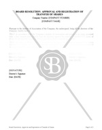 Board Resolution of Approval and Registration of Transfer of Shares