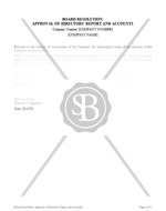 Board Resolution of Approval of Directors' Report and Accounts