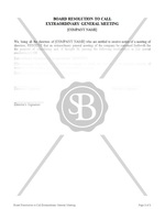 Board Resolution to Call Extraordinary General Meeting