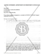 Letter Confirming Appointment of Independent Consultant