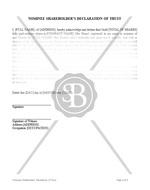 Nominee Shareholder's Declaration of Trust