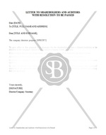 Letter to Shareholders and Auditors with Resolution to be Passed