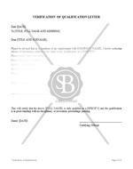 Verification of Qualification Letter