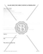Salary Deduction Direct Deposit Authorisation