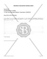 Business Transfer Notification
