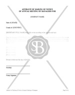 Affidavit of Mailing of Notice of Annual Meeting of Managers