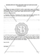 Memorandum  of Organization for Manager-Managed Company