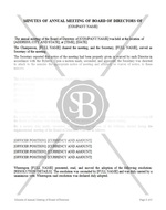 Minutes of Annual Meeting of Board of Directors