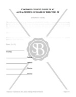 Unanimous Consent in Lieu of an Annual Meeting of Board of Directors