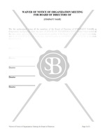 Waiver of Notice of Organization Meeting For Board of Directors