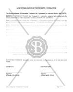 Acknowledgement of Independent Contractor