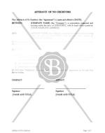 Affidavit of No Creditors with Acknowledgement