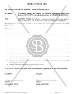 Affidavit of No Lien with Acnowledgement