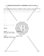 Corporate Resolution Authorizing Sale of Assets