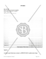 Invoice by Independent Contractor