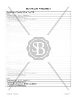 Beneficiary Worksheet
