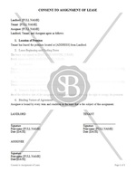 Consent to Assignment of Lease
