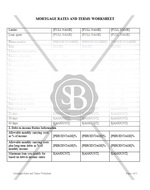 Mortgage Rates and Terms Worksheet