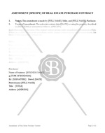 Amendment of Real Estate Purchase Contract