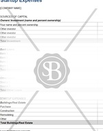 Start Up Expenses Worksheet