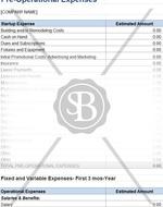 Start Up Costs Budget Worksheet
