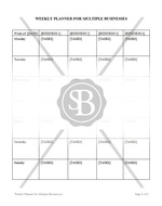 Weekly Planner for Multiple Businesses